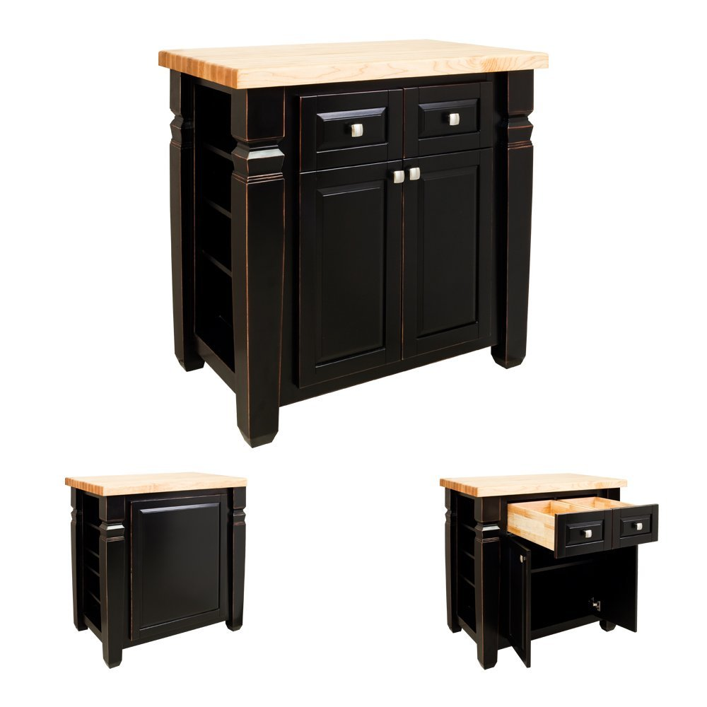 Lyn Design ISL12-AGB/ISL10-TOP Kitchen Island with top - Aged Black