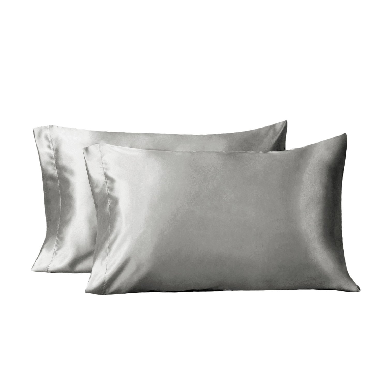 Bedsure Two-Pack Satin Pillowcases Set for Hair Cool and Easy to WASH Queen Size 20x30 Silver Grey with Envelope Closure
