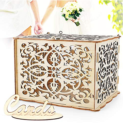 (LUTANI Wedding Money Box with Lock for Cards - DIY Wedding Card Box - Wedding Gift Boxes for Baby Showers, Anniversary, Party, Decorations (Large))