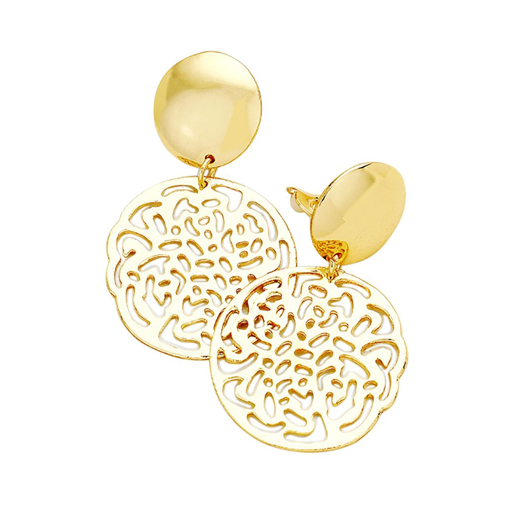 Rosemarie Collections Women's Filigree Dangle Drop Clip On Statement Earrings WT-3755-81XX