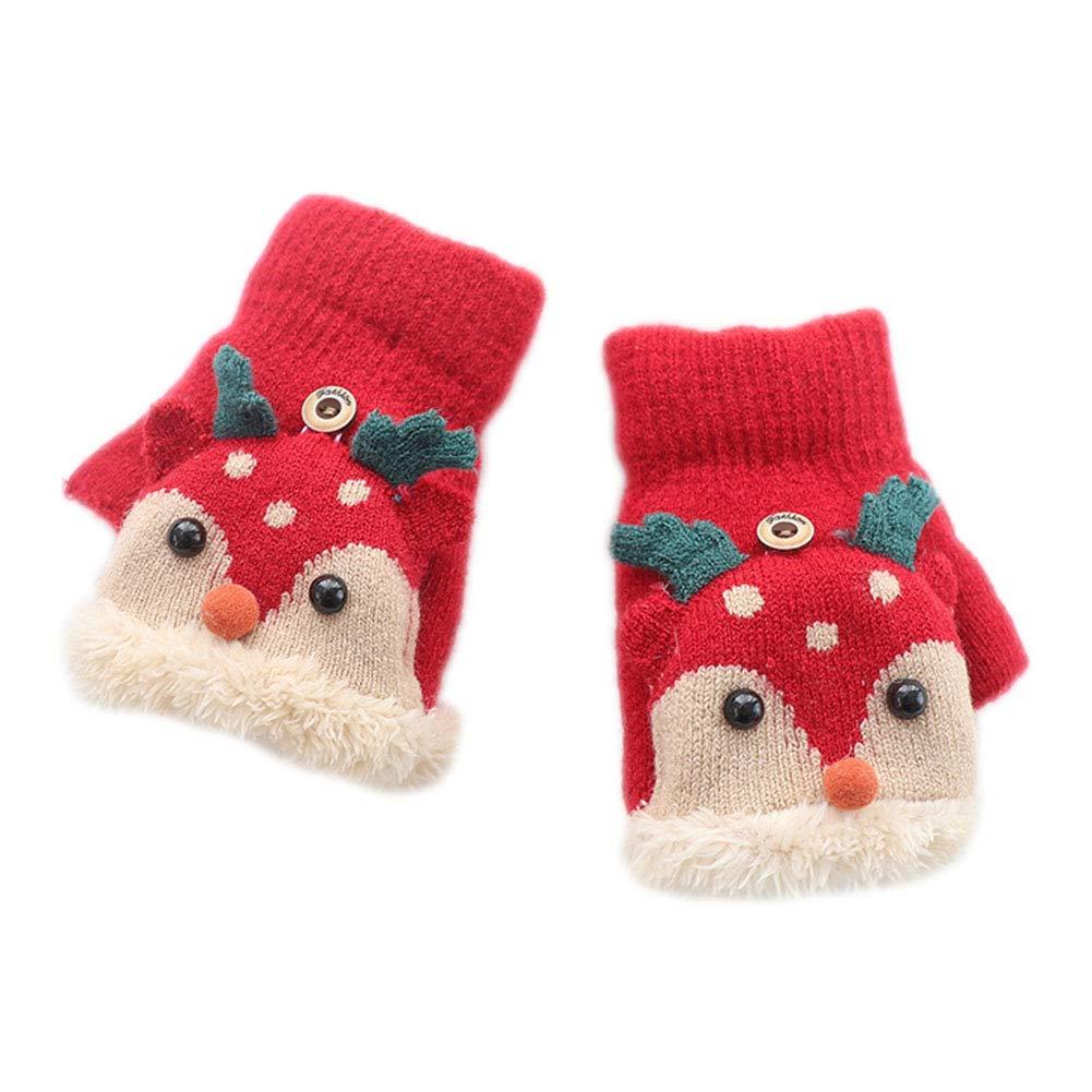 Monbedos Kids Boys Girlscartoon Deer Writinghalf finger Mittens –  Flip Top guanti invernali lavorati a maglia e protezione bambini mani rosso Red