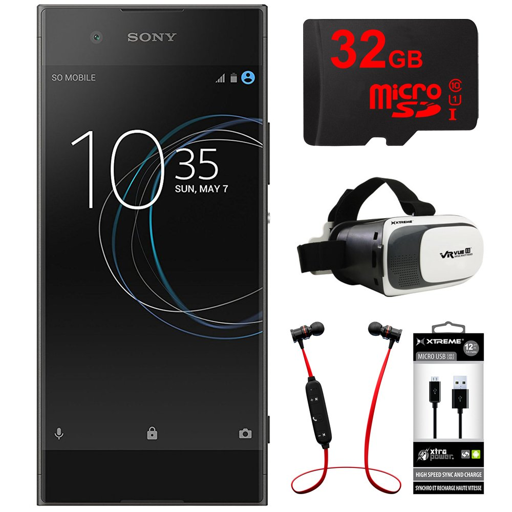 Sony XA1 16GB 5 Smartphone, Unlocked - Black (1307-4940) w/ 32GB Bundle Includes, 32GB MicroSD Memory Card, Fusion Bluetooth Headphones, VR Vue II Virtual Reality Viewer & USB Micro-B to USB-A Cable by Sony