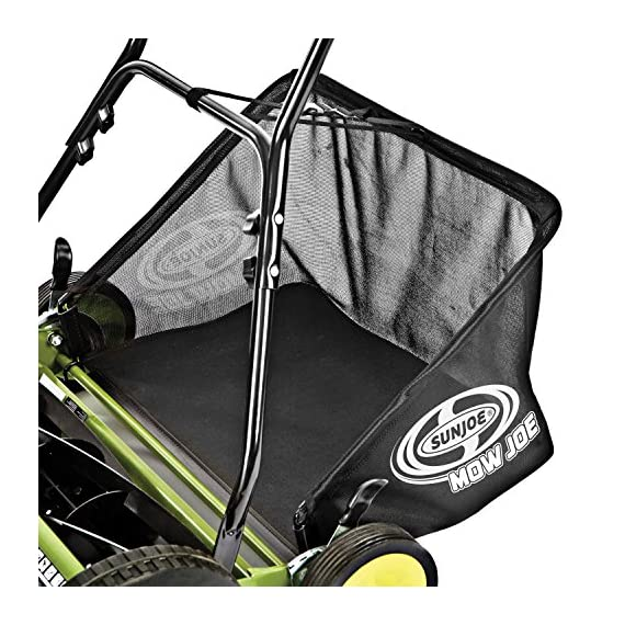 Sun Joe MJ502M Manual Reel Mower w/Grass Catcher | 20 inch 2 ✅ REEL MOWER: Powered with a push, this manual mower's 5 sharpened steel blades cut a crisp 20-inch path in a single pass - no gas, oil or electricity required ✅ ADJUSTABLE: 9 position manual height adjustment for cutting heights up to 2.44 in. deep ✅ RAZOREEL: 5 durable steel blades swiftly slice through grass for precise cutting