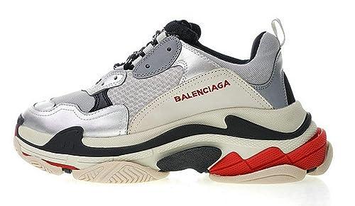 Balenciaga Triple-S Trainer 520156W09O31081 Silver Black Zapatillas de Running para Hombre Mujer: Amazon.es: Zapatos y complementos