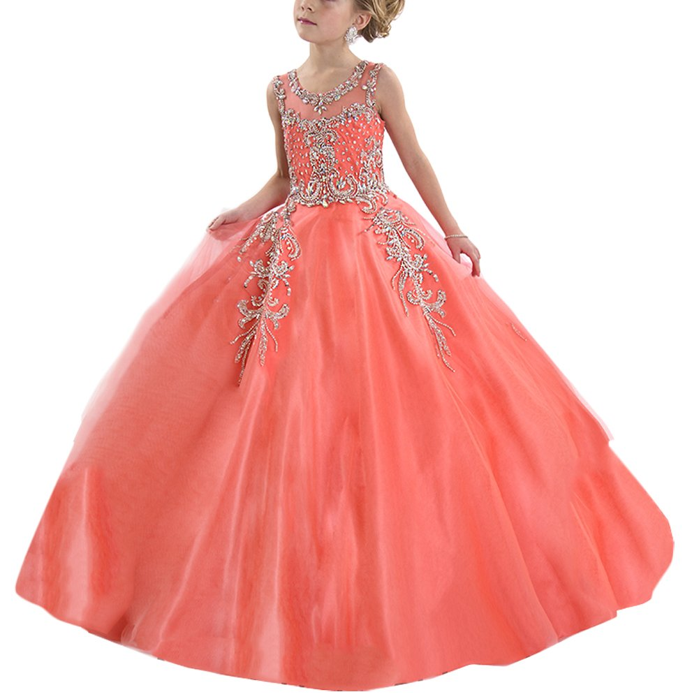 Hanayome Girl's Pageant flower girl Holiday dresses R87 Size 10 Coral