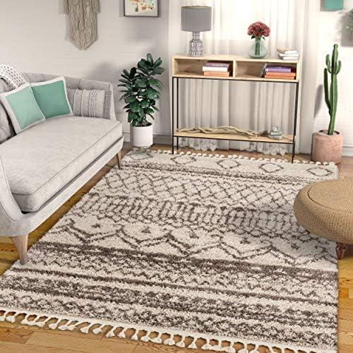 Well Woven Jasmin Shag Ivory Moroccan Trellis Area Rug 3×5 4×6 3 11 x5 3