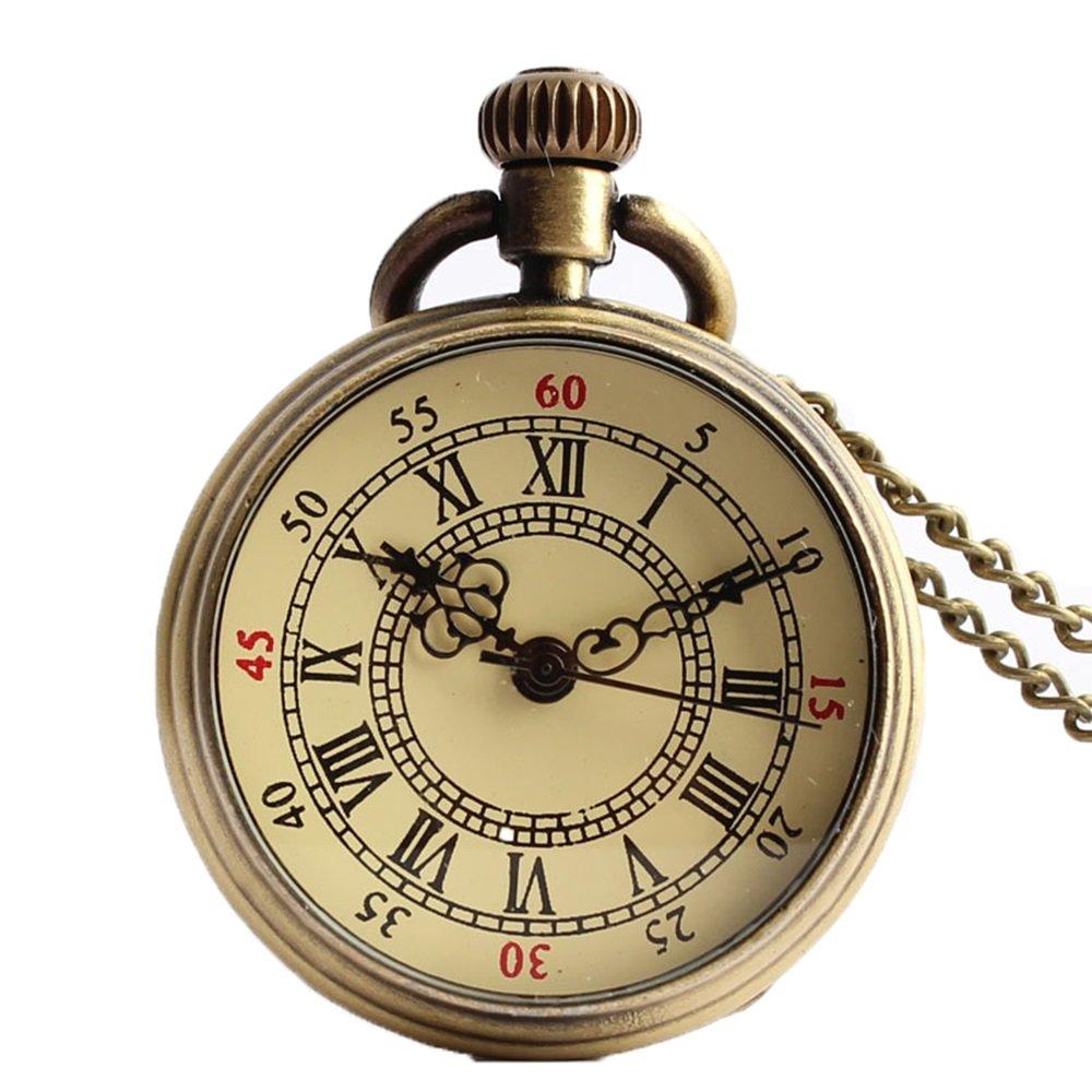 Shirleyle Creative Vintage Uncovered Quartz Pocket Watch For Women Men Birthday Gift