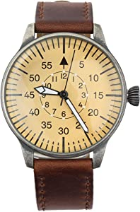 Mil-Tec Luftwaffe ME 109 Pilot Vintage Quartz Watch with Brown Leather Strap