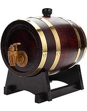Tonneau de Vin en Bois de Chêne avec Support Récipient pour Vin Fût à Vin pour Stockage de Vins Pratique Durable avec Robinet Distributeur à Vin 1,5 L / 3L / 5L / 10L aux choix
