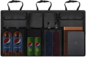 MoKo Car Backseat Organizer, High Capacity Auto Trunk Hanging Storage Bag, Cargo Interior Accessories with Adjust Straps, 4 Various Pockets and Large Mesh Pockets for SUV, Vehicle, Truck, Auto - Black