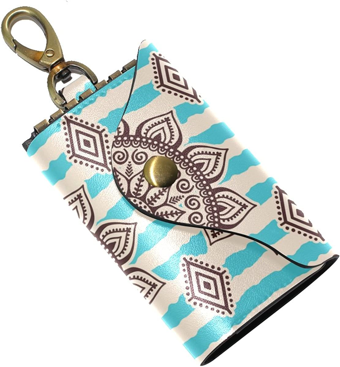KEAKIA Ethic Tribal Pattern Leather Key Case Wallets Tri-fold Key Holder Keychains with 6 Hooks 2 Slot Snap Closure for Men Women