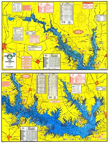 Topographical Fishing Map of Lake Sam Rayburn (Rayburn Reservior) - With GPS Hotspots (Gps Maps Lake)