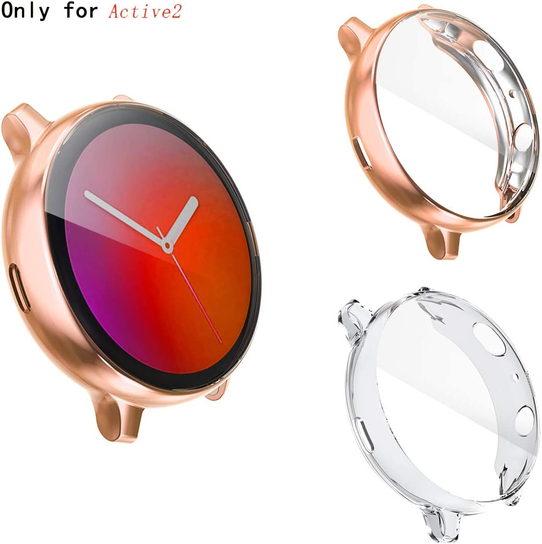 Dlihvy Funda Protectora para Samsung Galaxy Watch Active 2 40mm,Cubierta Protectora de Marco TPU Protector de Flexible de Cobertura Total para Samsung Galaxy Watch Active 2 (40mm, Clear+Oro Rosa)