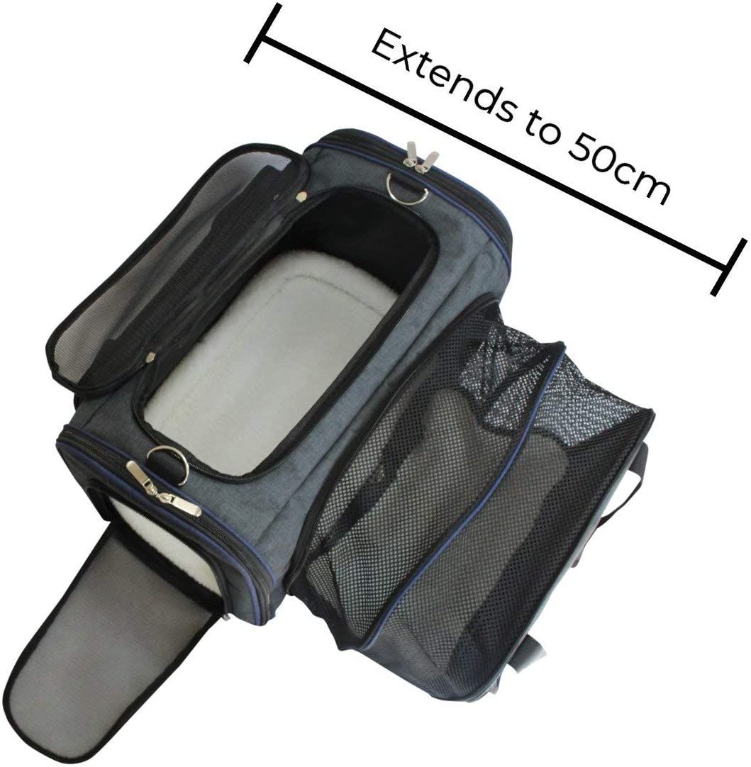 Pet Travel Bag for Dogs Removable Mat with Free Pet Bowl AKADO Pet Carrier Cat Bag Extendable Collapsible Carrying Case Fit Under Airplane Seat for Kittens Puppies and Cats