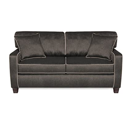 SOFAB Chloe Two Seat Sofa Covered in a Medium Grey Polyester Fabric with Light Grey Accent Welts. Pet Approved & Kid Friendly Fabrics Create the ...