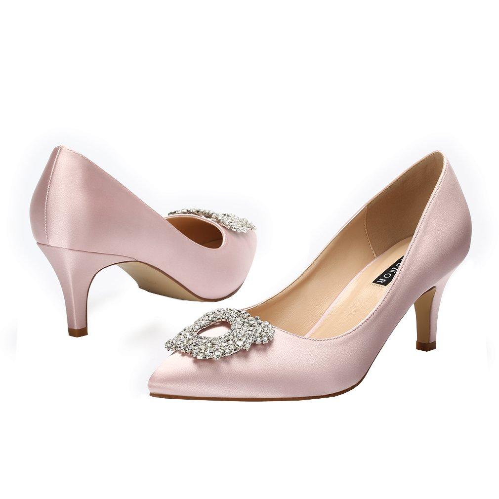 d1899db0c78 ... ERIJUNOR Women s Pumps Low Heel Rhinestone Brooch Satin Evening Dress  Dress Dress Wedding Shoes B074P4R3XG 9