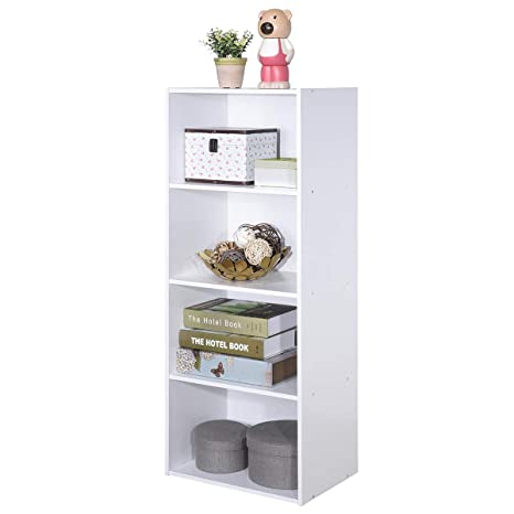 Giantex 4-Tier Bookshelf Bookcase Storage Cabinet with Open Shelves Modern  Home Office Furniture for Living Room Bedroom Study Office Book Organizer  ...