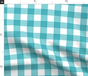 Spoonflower Fabric - Turquoise Buffalo Plaid Stripe Country Gingham Paint Printed on Lightweight Cotton Twill Fabric by The Yard - Sewing Bottomweight Fashion Apparel Home Decor