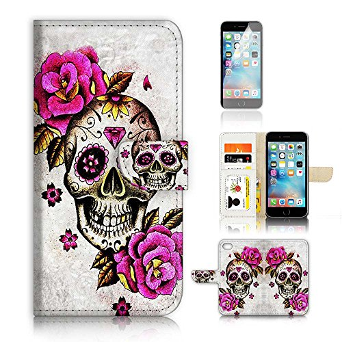 ( For iPhone 8 Plus / 7 Plus ) Flip Wallet Case Cover and Screen Protector Bundle A4141 Sugar Skull
