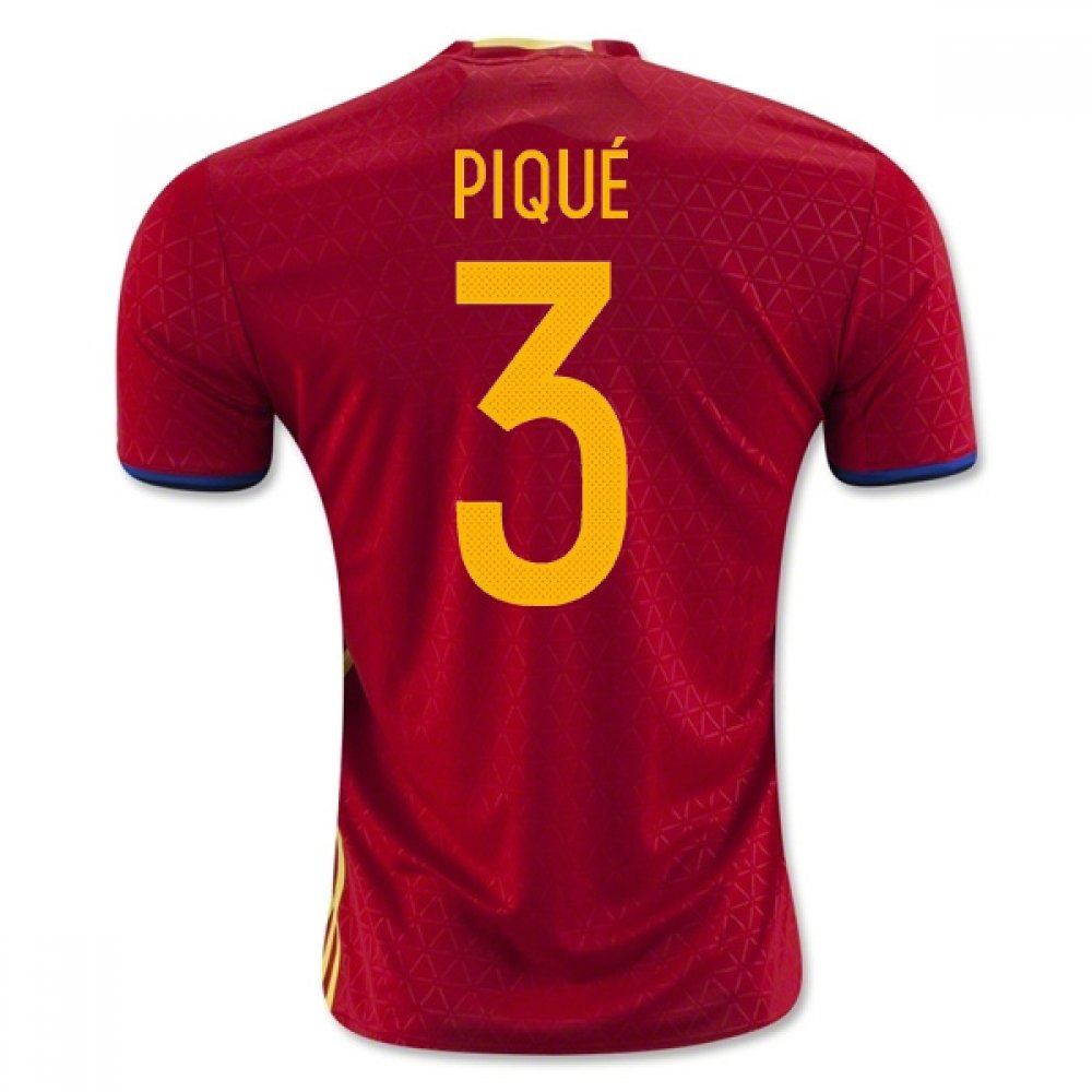2016-2017 Spain Home Football Soccer T-Shirt Trikot (Gerard Pique 3)