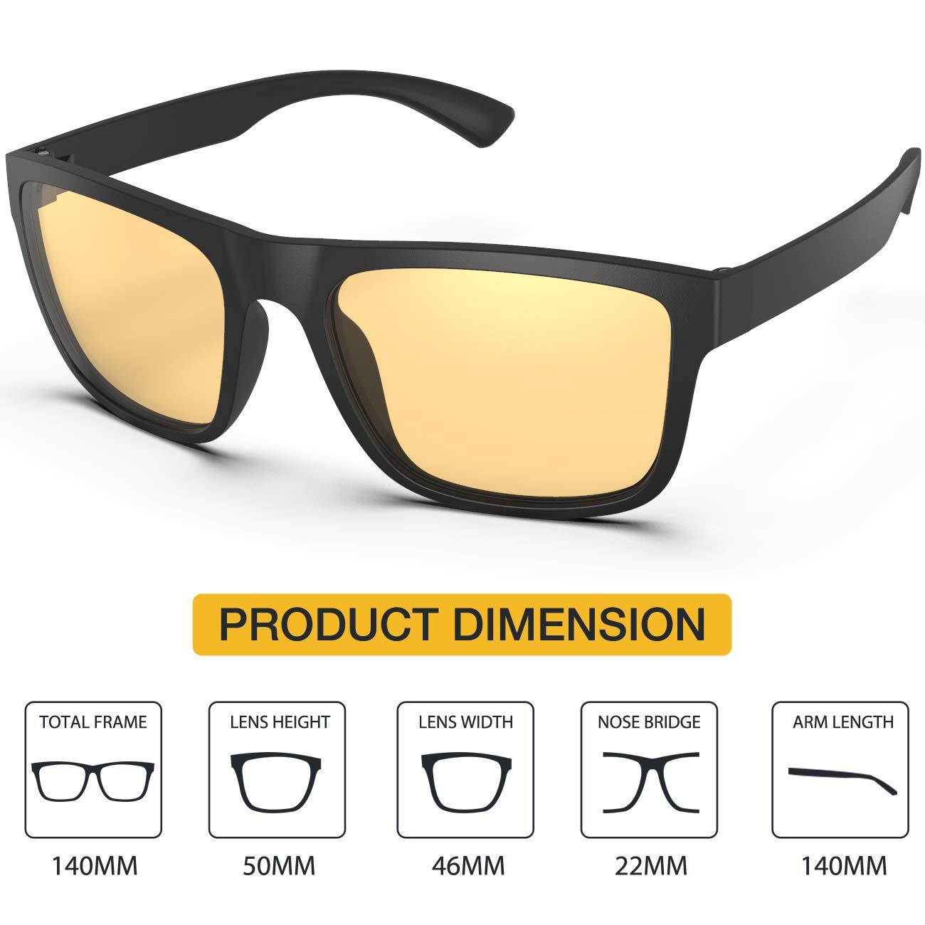 Avoalre Gafas Anti luz Azul para Ordenador Amarillo Gafas Cuadradas Unisex Ligeras para Hombre y Mujer de Oficina, Antifatiga y contra el Cansancio Ocular ...