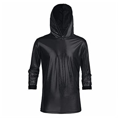 35ad6d386c5 FEESHOW Mens Shiny Patent Leather Long Sleeves Hoodies T-Shirt Tops Hooded Pullover  Sweatshirt Clubwear Black XX-Large: Amazon.co.uk: Clothing