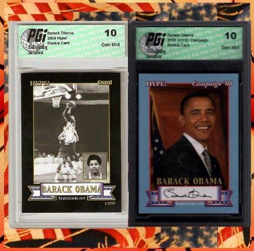 Barack Obama Campaign & Basketball Rookie Card PGI 10