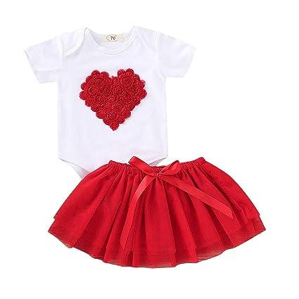 b1c7b0ef2 Amazon.com  Exteren Valentine s Toddler Baby Short Sleeve Heart ...