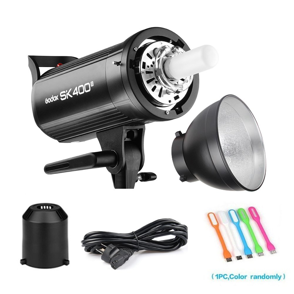 Godox SK400II 400Ws Photo Studio Strobe Flash Monolight Light with Bowens Mount &Lamp Head,150W Modeling Lamp for Studio,Shooting,Location and Portrait Photography-110V by Godox