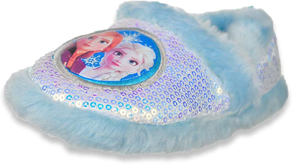 Disney Frozen Girls Furry-Trimmed Slippers
