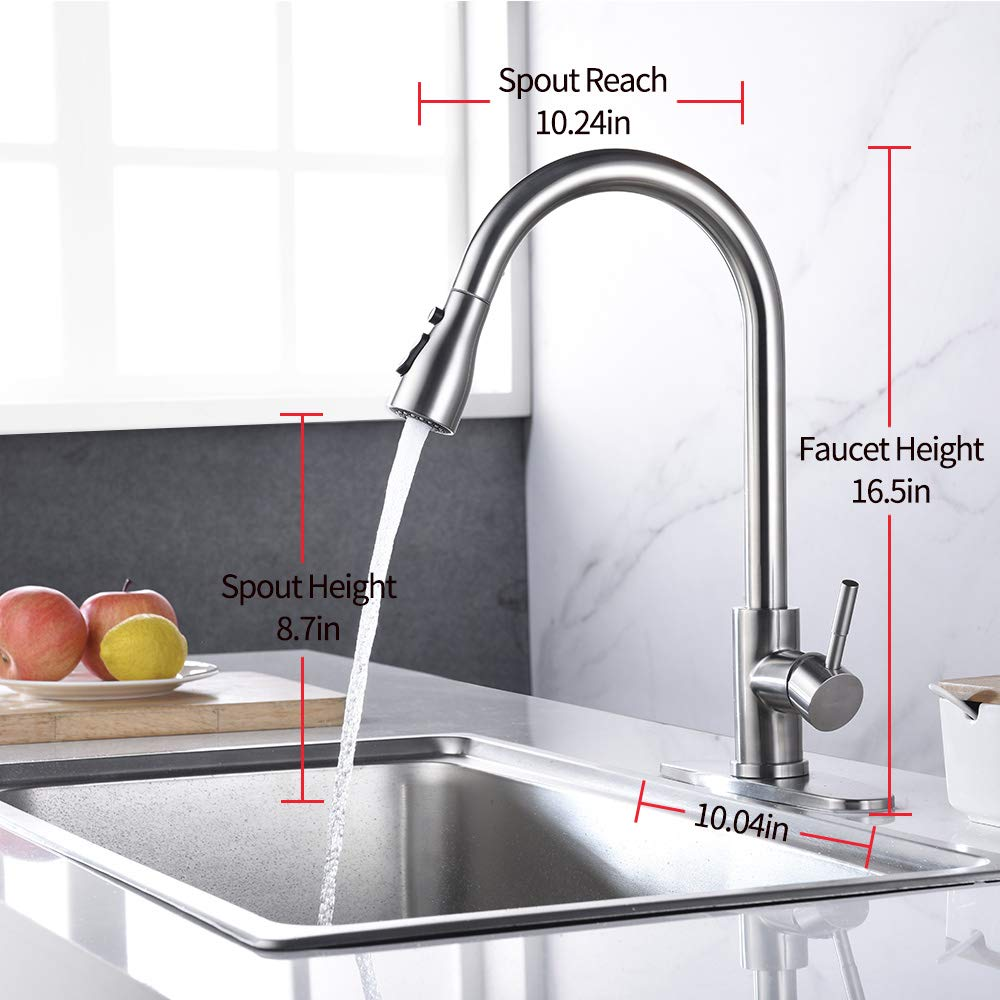 Keonjinn Stainless Steel Kitchen Faucets,High Arc Single Handle Pull out Brushed Nickel Kitchen Faucet,Single Level with Pull down Sprayer