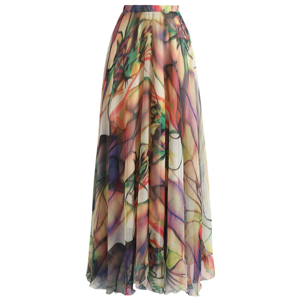 Chicwish Women's Richly Tinting Watercolor Maxi Floral Chiffon Slip Skirt by Chicwish