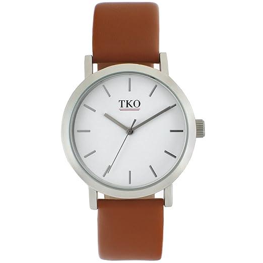 TKO - moderno en todo el mundo viajero funda de plata mate marrón piel banda reloj: Amazon.es: Relojes