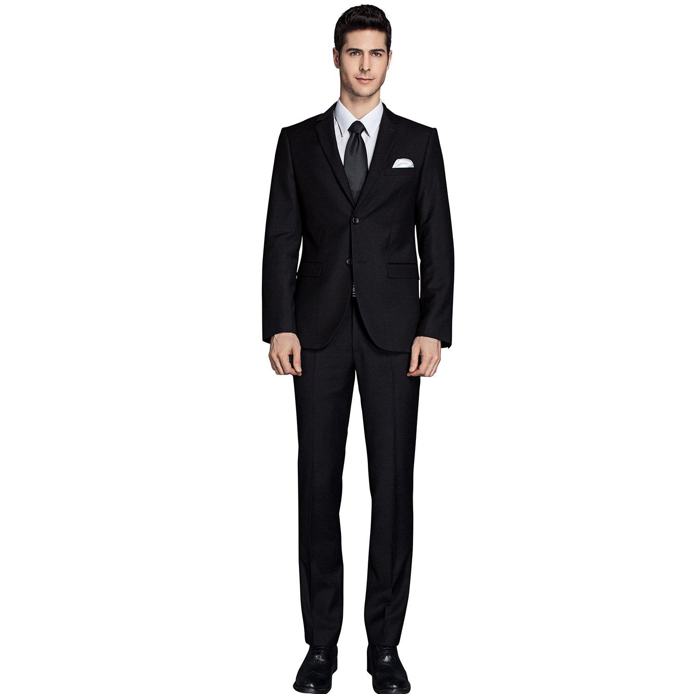 GEMENTLE Mens 2 Pieces 2 Buttons Slim Fit Formal Business Suit with Expandable-Waist Pants