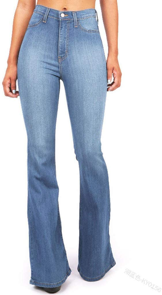 Light Blue, S Lixiliw Women Ripped Flare Jeans Mid Rise Fitted Denim Pants Bell Bottom or Wide Leg Jeans Trousers
