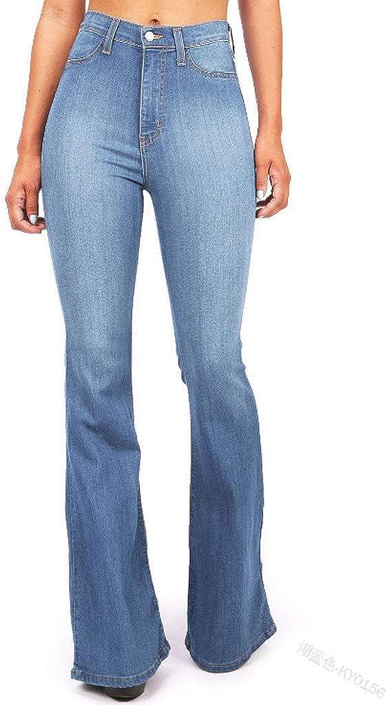 Vaqueros Acampanados Pantalones Anchos Tallas Grandes Jeans De Mujer Vaqueros Cintura Alta Pantalones Suelto Bootcut De Color Solido Vaqueros Con Bolsillo Suelto Elasticos Slim Pantalon Moverv Lookool Ro