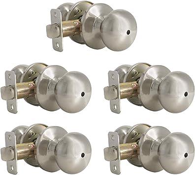 5 Pack Privacy Door Knob For Bathroom And Bedroom Door Keyless Interior Door Lockset In Satin Nickel Solid Stainless Steel Round Door Knob With Lock Amazon Com