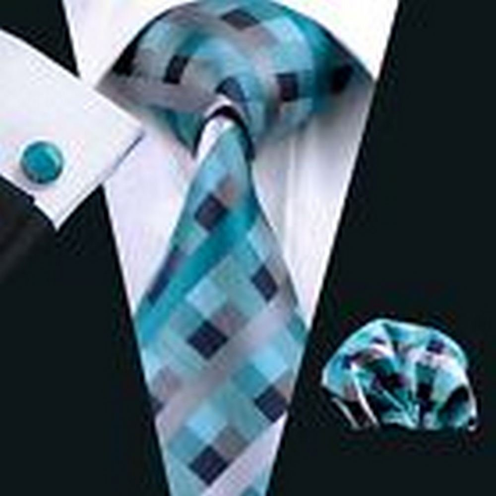 Dream Pole PR-553 Teal Mens Tie Set Hankerchief Cufflinks Set Silk Business Meeting Formal #PPTE4023