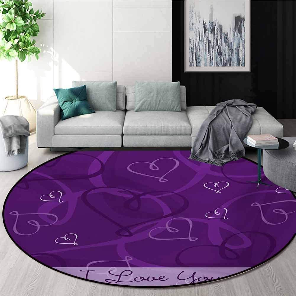 RUGSMAT Romantic Non-Slip Area Rug Pad Round,Lavender Colored Romantic Themed Image with Hand Drawn Hearts Image Protect Floors While Securing Rug Making Vacuuming,Diameter-71 Inch