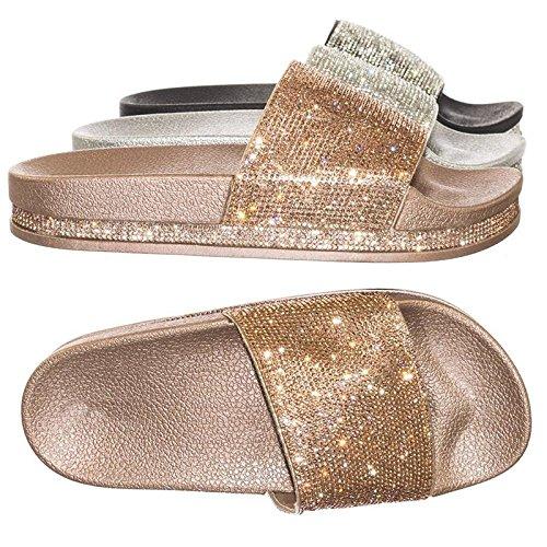 Forever Link Rhinestone & Glitter Slide Slippers Rose Gold Rhinestone, 10