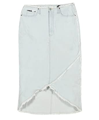 Plus Size Frayed Long Denim Skirt --Size: 20 Color: Blue at Amazon ...