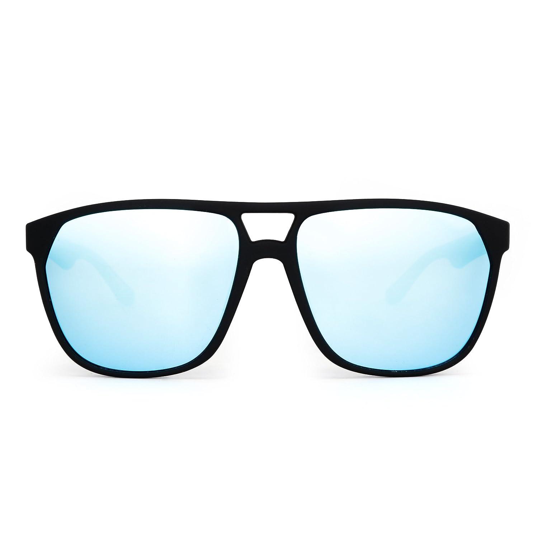 c6a995239dc Polarized Flat Top Sunglasses Lightweight Mirrored Eyeglasses Men Women  (Matte Black Polarized Blue)  Amazon.co.uk  Clothing