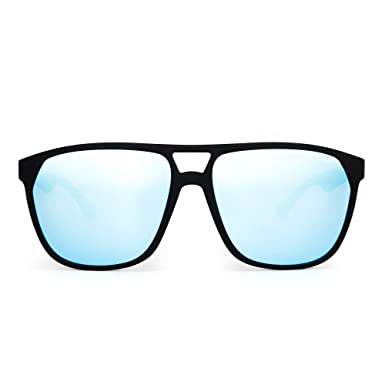 5f03e434260 Polarized Flat Top Sunglasses Lightweight Mirrored Eyeglasses Men Women  (Matte Black Polarized Blue)  Amazon.co.uk  Clothing