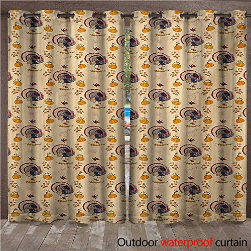 BlountDecor Thanksgiving Outdoor Curtain Panel for Patio American Style Turkey Pumpkin Seeds Cranberry Maple Fall Season Rustic LifeW120 x L84 Multicolor