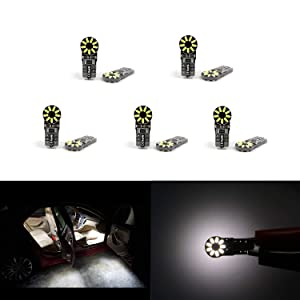 Dantoo Pack of 10 Extremely Bright T10 LED W5W Bulb 168 2825 194 Wedge Dome Lights 6000K Xenon White 3014 Chipset Bulbs for Car Interior Map Door Courtesy License Plate Light