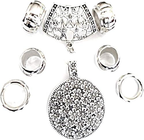US Seller cross pendant slide scarf rings set scarf with pendants