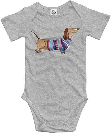 Jaylon Baby Climbing Clothes Romper Dachshund Dog Infant Playsuit Bodysuit Creeper Onesies White