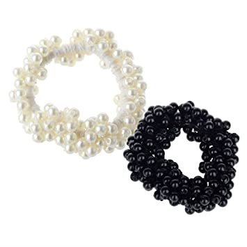 Details about  /Fashion Pearls Elastic Scrunchies Rubber Band Ponytail Holder Hair Rope Ring