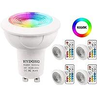 Ampoule LED GU10 Blanc Froid 3W Dimmable Couleur Changement RVB LED Spot Bulb, 12 Couleurs avec Télécommande, AC 85V - 265V, pour Applique, Rail Track, Plafonnier Encastré (paquet de 4)