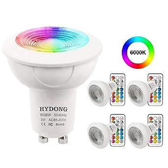Bombilla LED Foco GU10 Colores 3W Regulable Bombillas con mando, 12 colores + Blanco Frío